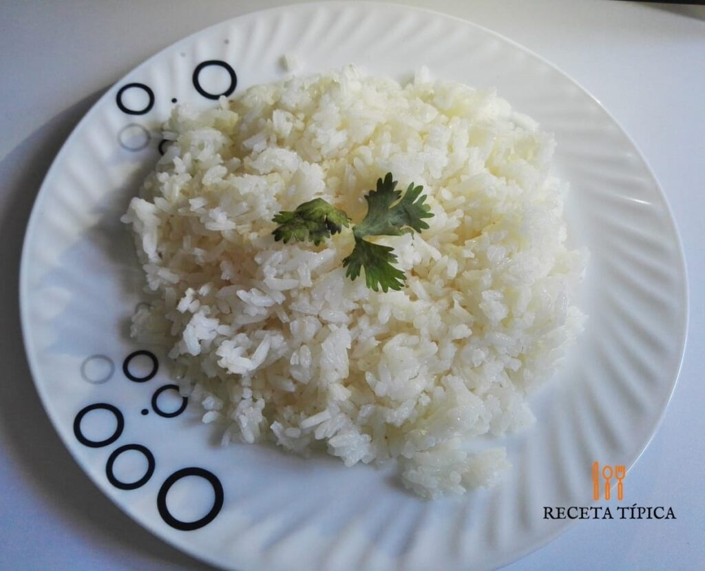 plato con arroz blanco o arroz seco