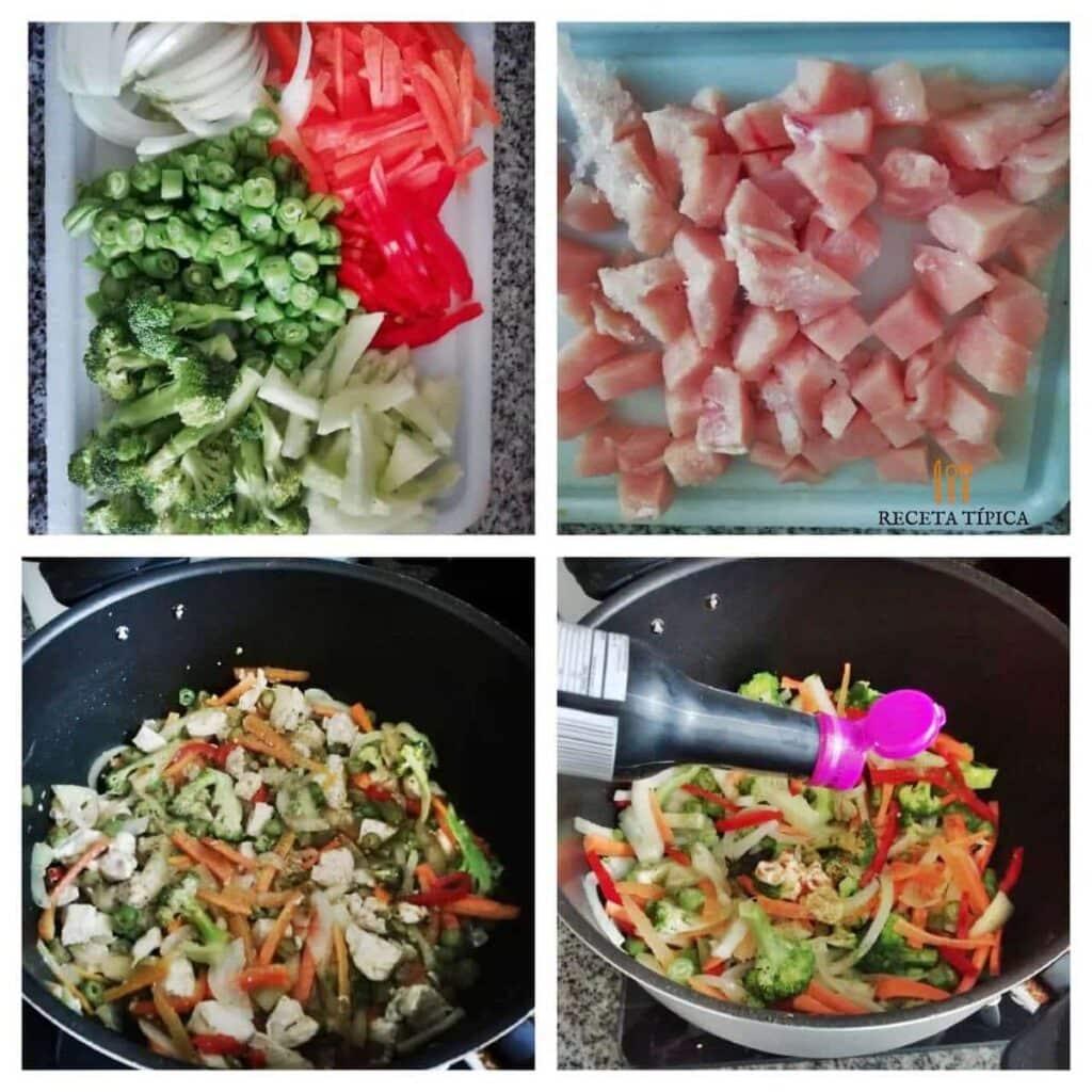 instrucciones paso a paso para preparar chop suey de pollo
