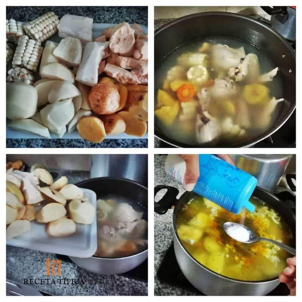 Instrucciones para preparar sancocho de gallina