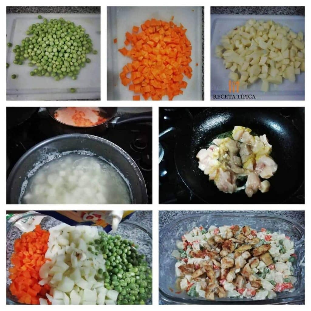 Instrucciones paso a paso ensalada de verduras y pollo