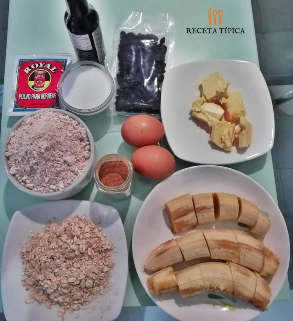 Ingredientes para preparar pan de banano y avena