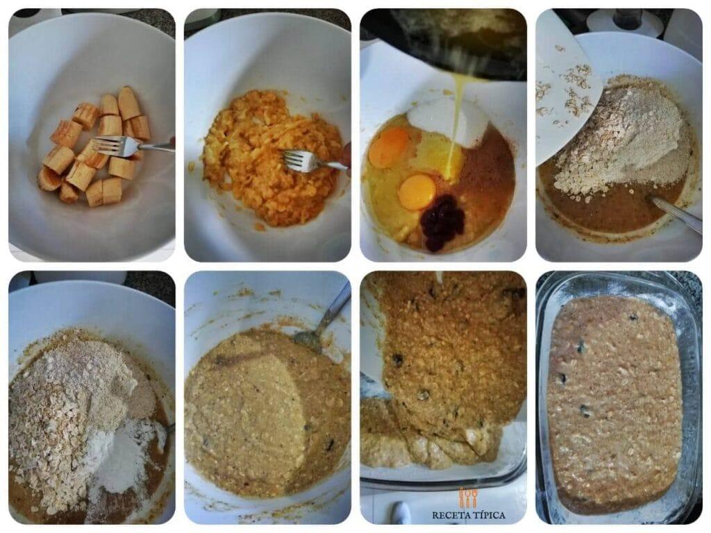 Instrucciones paso a paso para preparar pan de avena y banano