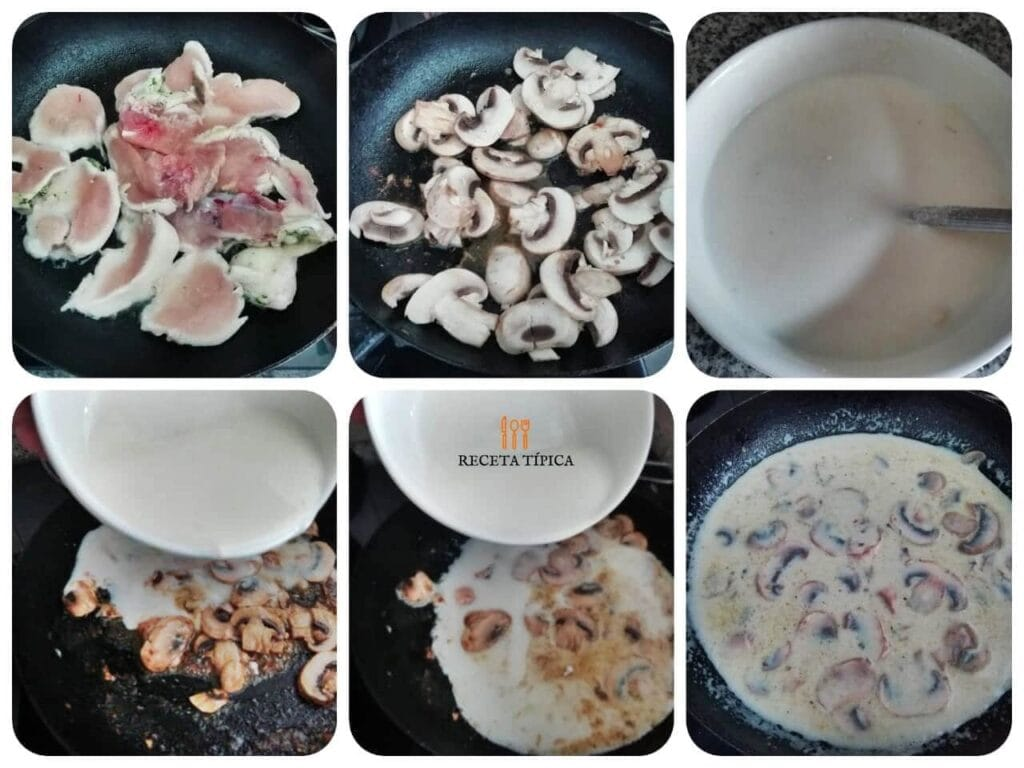 Instrucciones paso a paso para preparar pollo en salsa de champiñones