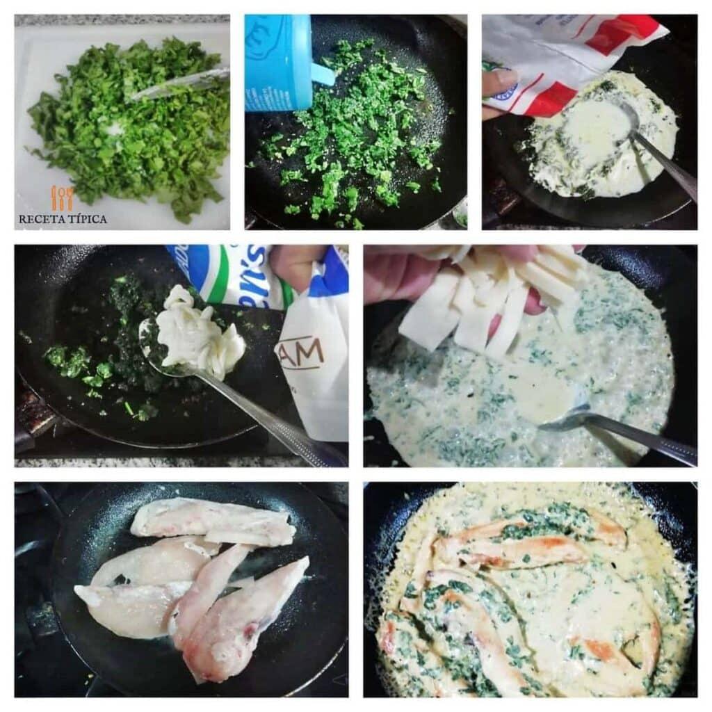 instrucciones paso a paso para preparar pollo en salsa de espinacas