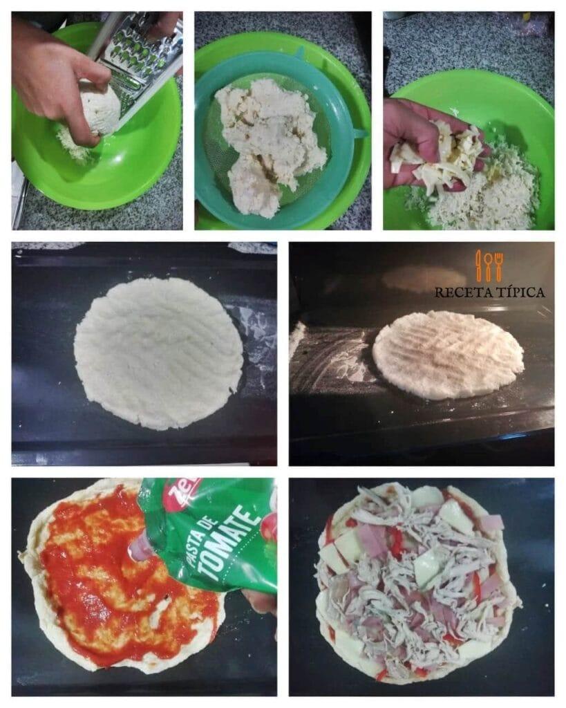 instrucciones paso a paso para preparar pizza con base de coliflor
