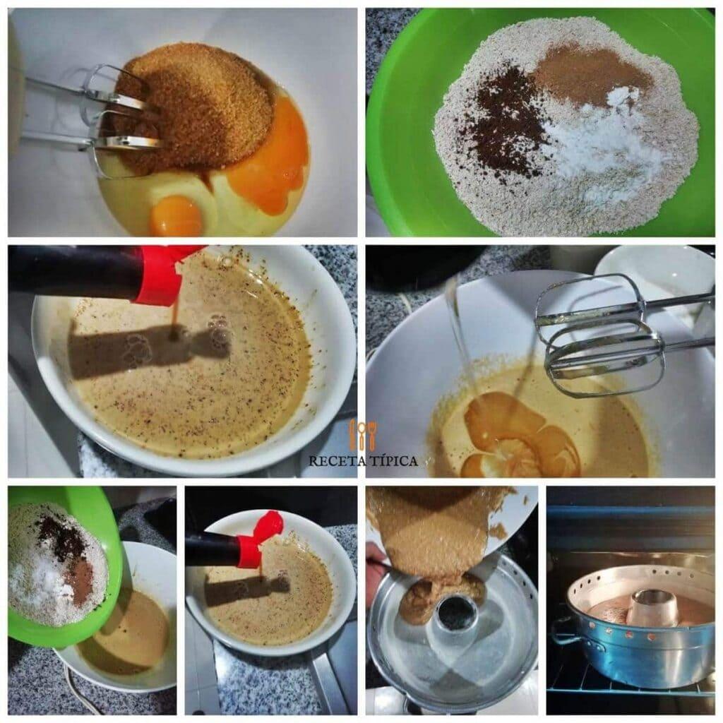 Instrucciones paso a paso para preparar torta de café.
