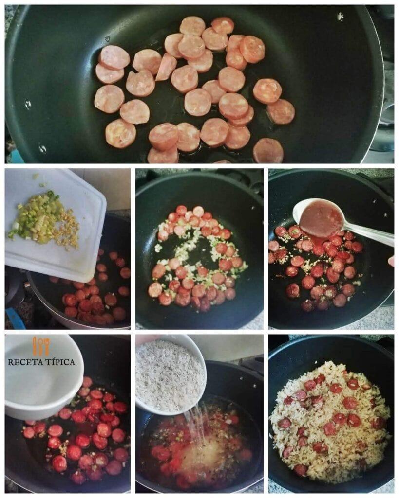 Instrucciones paso a paso para preparar arroz con chorizo