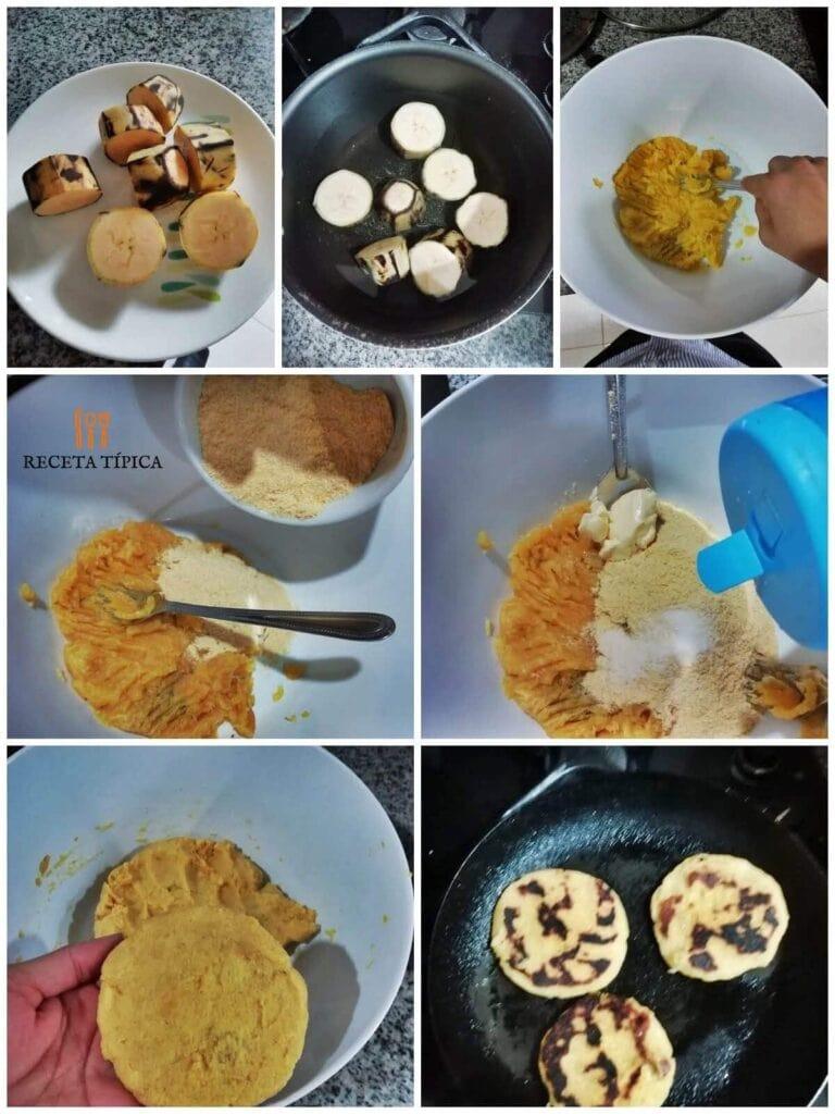 Instrucciones paso a paso para preparar arepas de plátano maduro