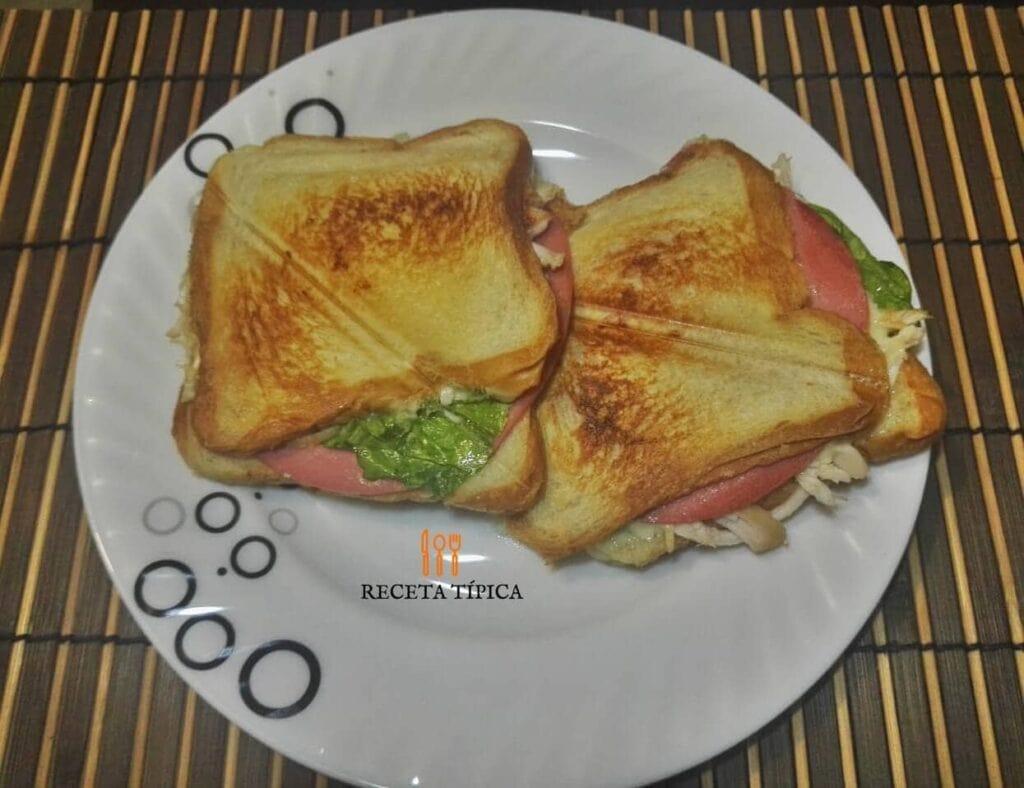 plato con dos sándwich de pollo