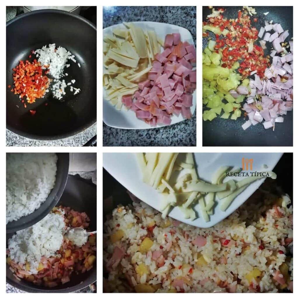 Instrucciones paso a paso para preparar arroz hawaiano