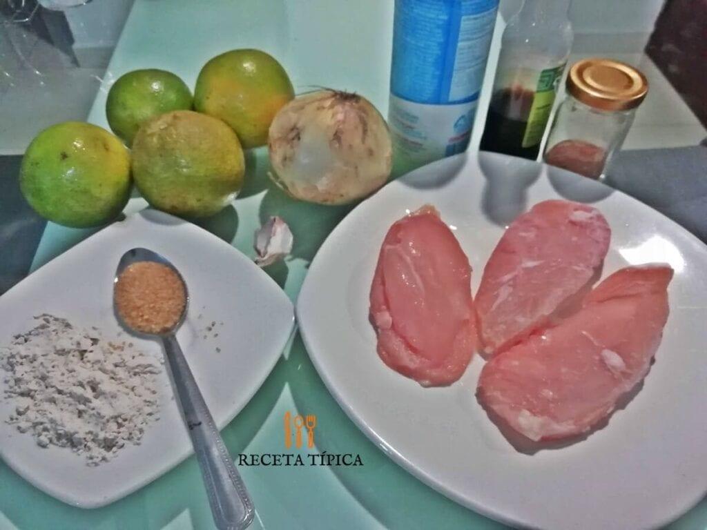 Ingredientes para preparar pollo a la naranja
