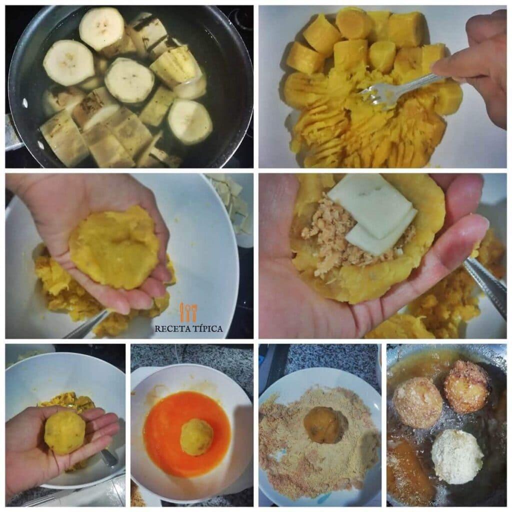 Instrucciones paso a paso para preparar croquetas de plátano maduro