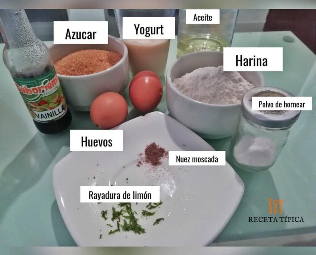 Ingredientes para preparar bizcocho de yogurt