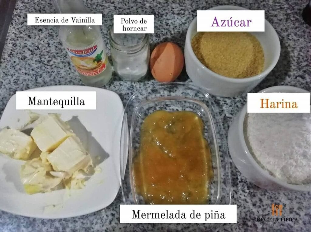 Ingredientes para preparar galletas rellenas