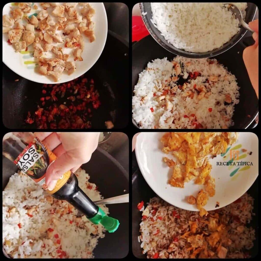 Instrucciones paso a paso para preparar arroz chaufa