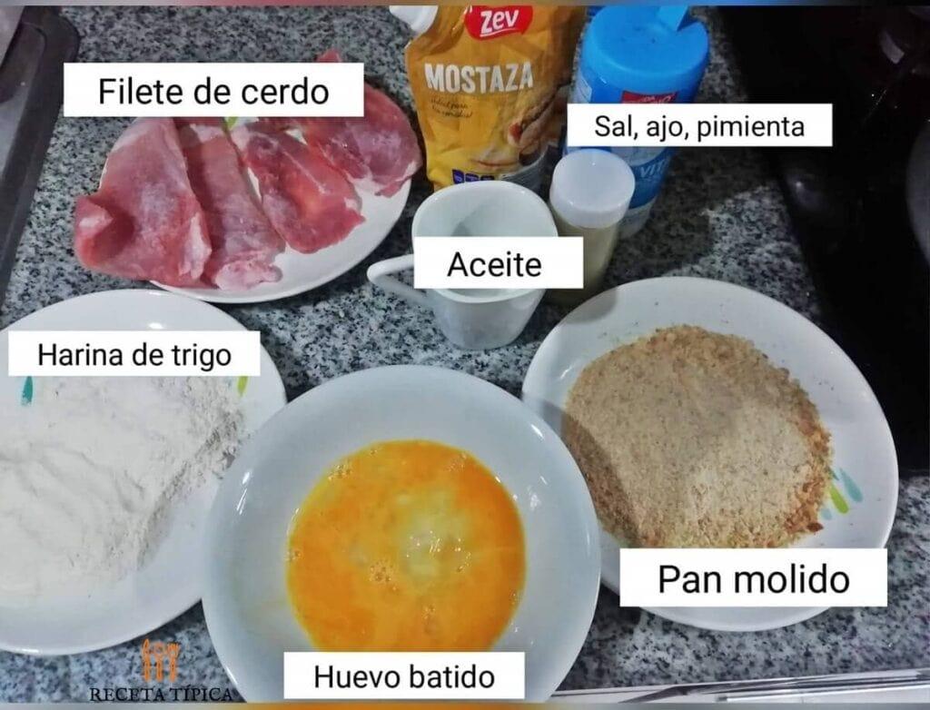 Ingredientes para preparar milanesa de cerdo