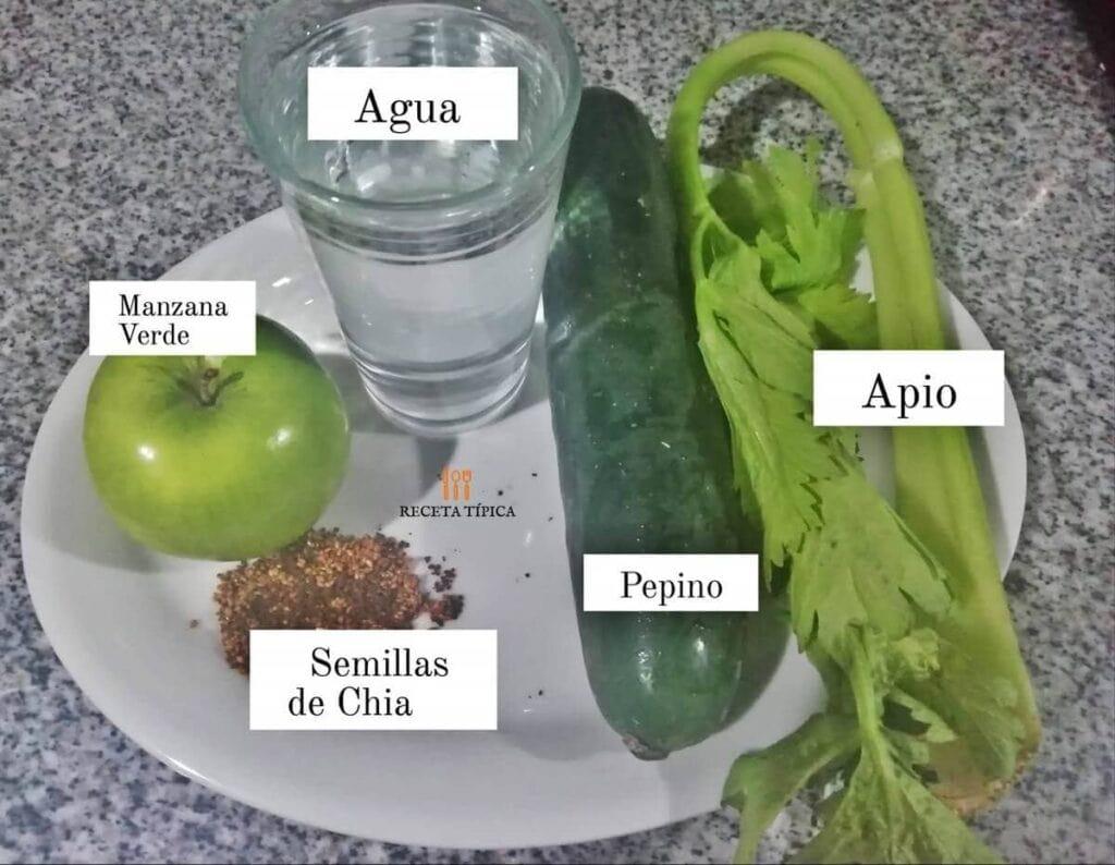 Ingredientes para preparar batido verde