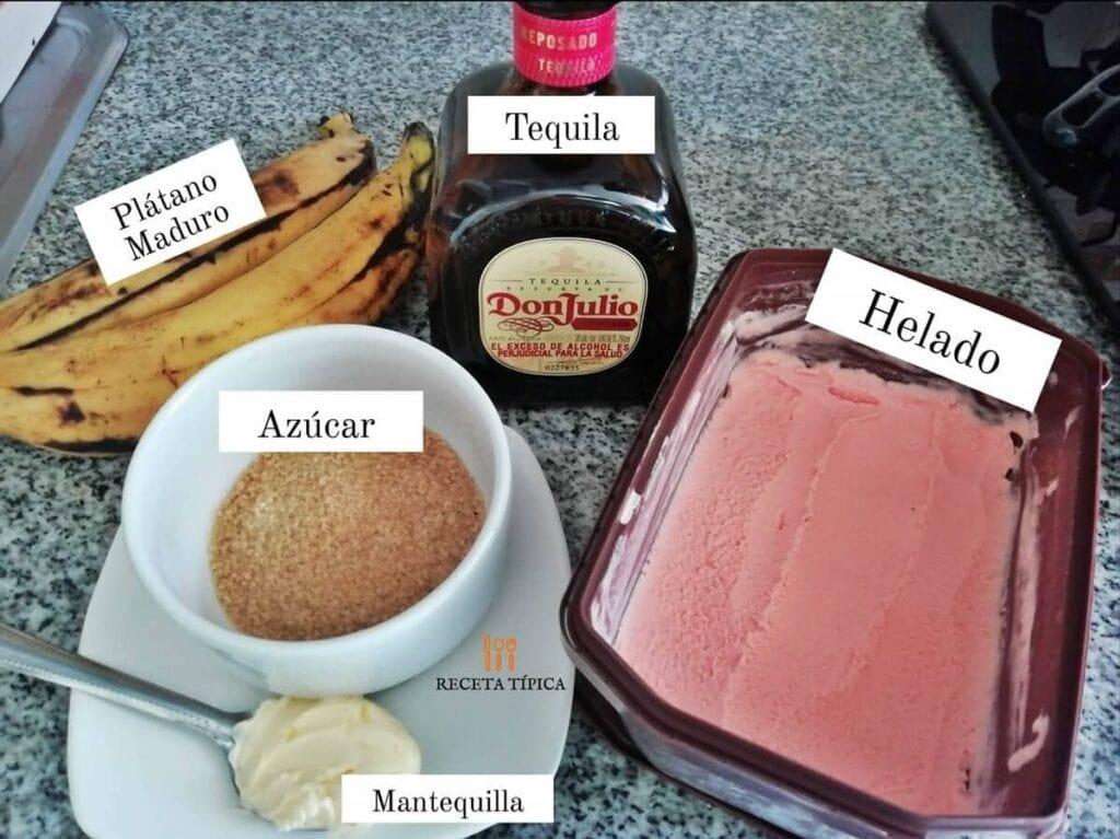 Ingredientes para preparar plátanos al tequila
