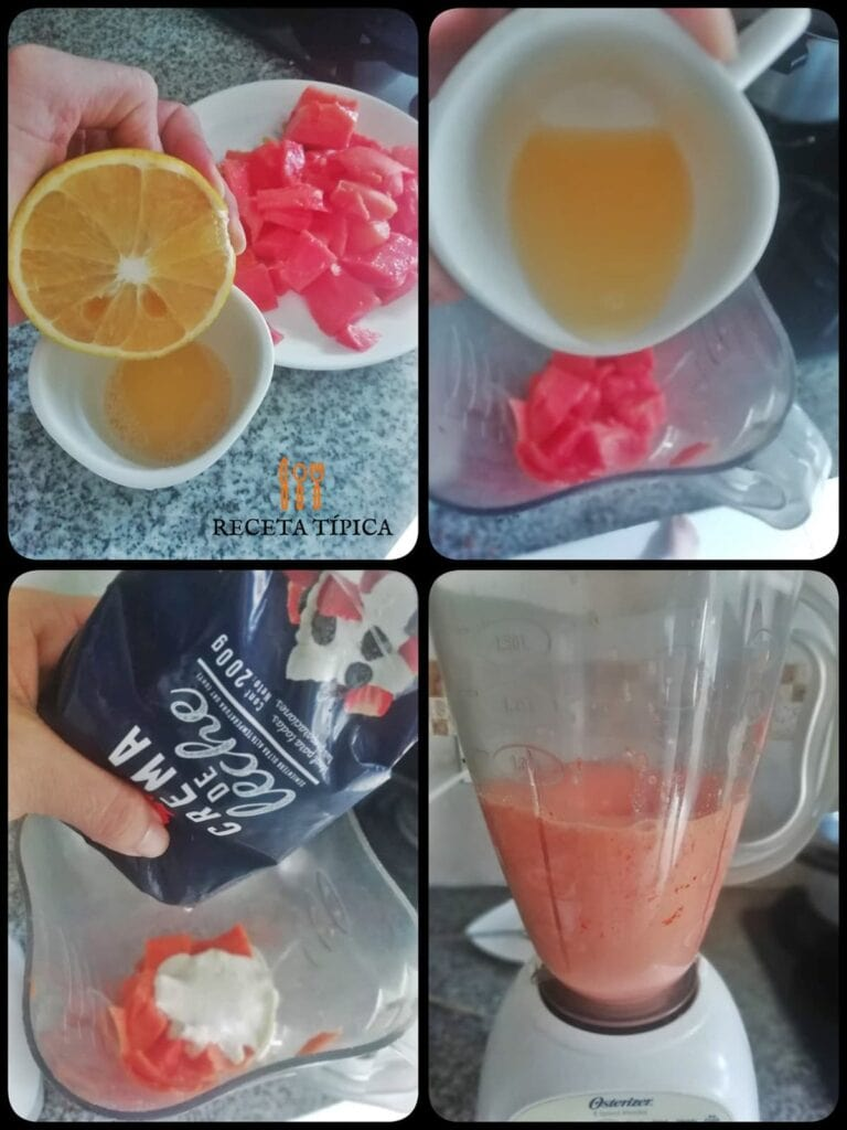 Instrucciones paso a paso para preparar mousse de papaya